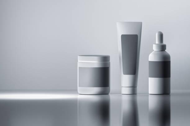 White cosmetics bottles stock photo