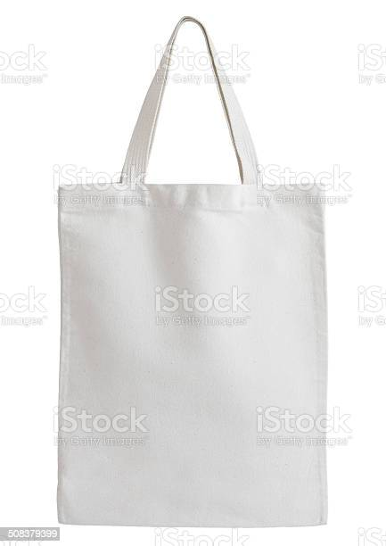 White cotton bag isolated on white background with clipping path