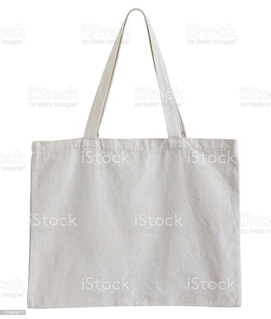 White cotton bag stock photo
