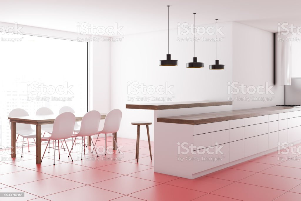 White Countertops In A Pink Floor Kitchen Table Stock Photo Download Image Now Istock
