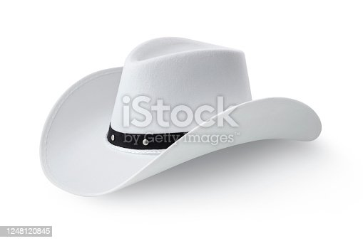 White cowboy hat isolated on white background. Photo with clipping path.