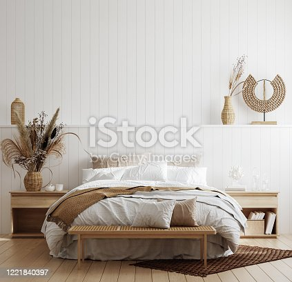 White cozy coastal bedroom interior, 3d render