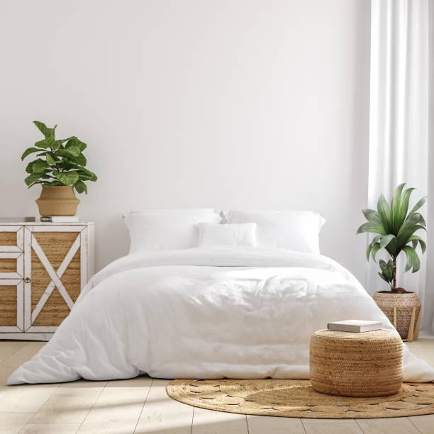weiße gemütliche bauernhaus schlafzimmer interieur, wand mockup - schlafzimmer stock-fotos und bilder