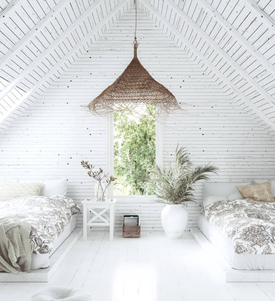 white cozy tropical bedroom interior in attic, scandi-boho style - home decor boho imagens e fotografias de stock