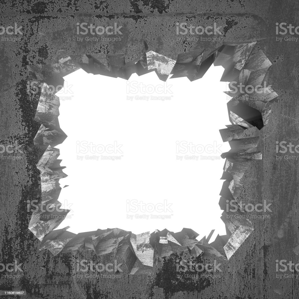 White cracked broken hole in concrete wall. Grunge background. 3d...
