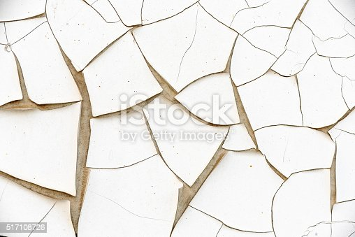 istock White cracked paint wall, texture background. 517108726