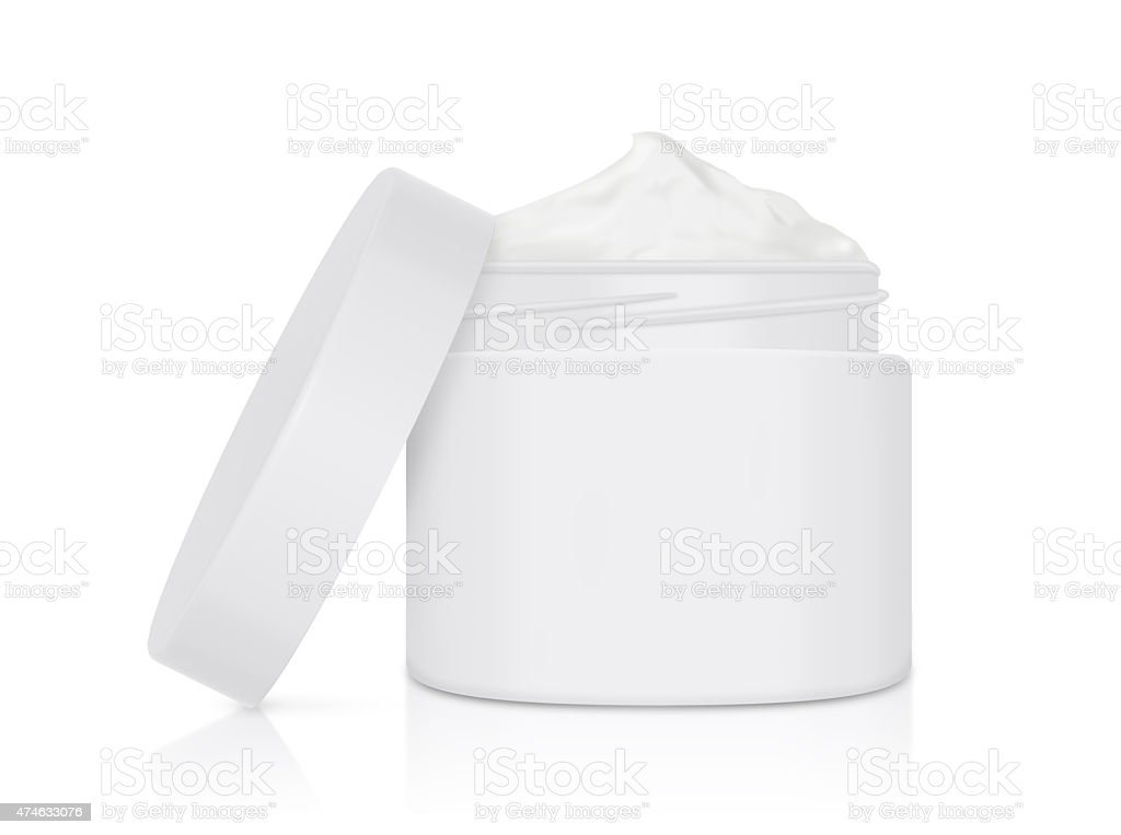 White cream jar open lid mock up stock photo