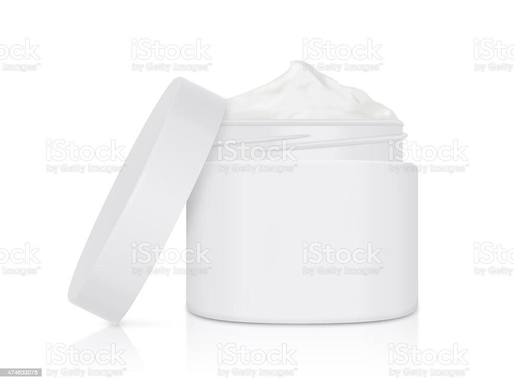 White cream jar open lid mock up stock photo