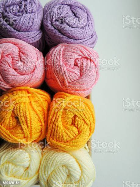 White cream pink lilac and yellow cotton yarn balls for knitting and picture id859426184?b=1&k=6&m=859426184&s=612x612&h=jndxcd5lfd8trvla4krdnxkct81jtsgwpvh4vz svcm=
