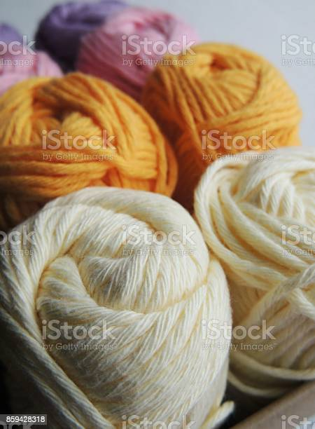 White cream pink lilac and yellow cotton yarn balls for knitting and picture id859428318?b=1&k=6&m=859428318&s=612x612&h=9qierort8y4xhaetv51kfsilzk sisilt c dladbvc=