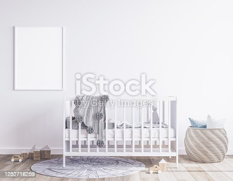 686648930 istock photo White crib, basket, and gray plaid in modern bright newborn bedroom 1252716259