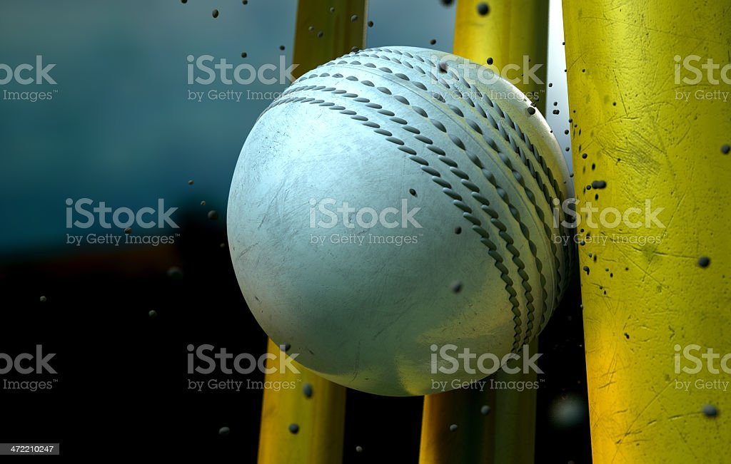 White Cricket Ball And Wickets stock photo