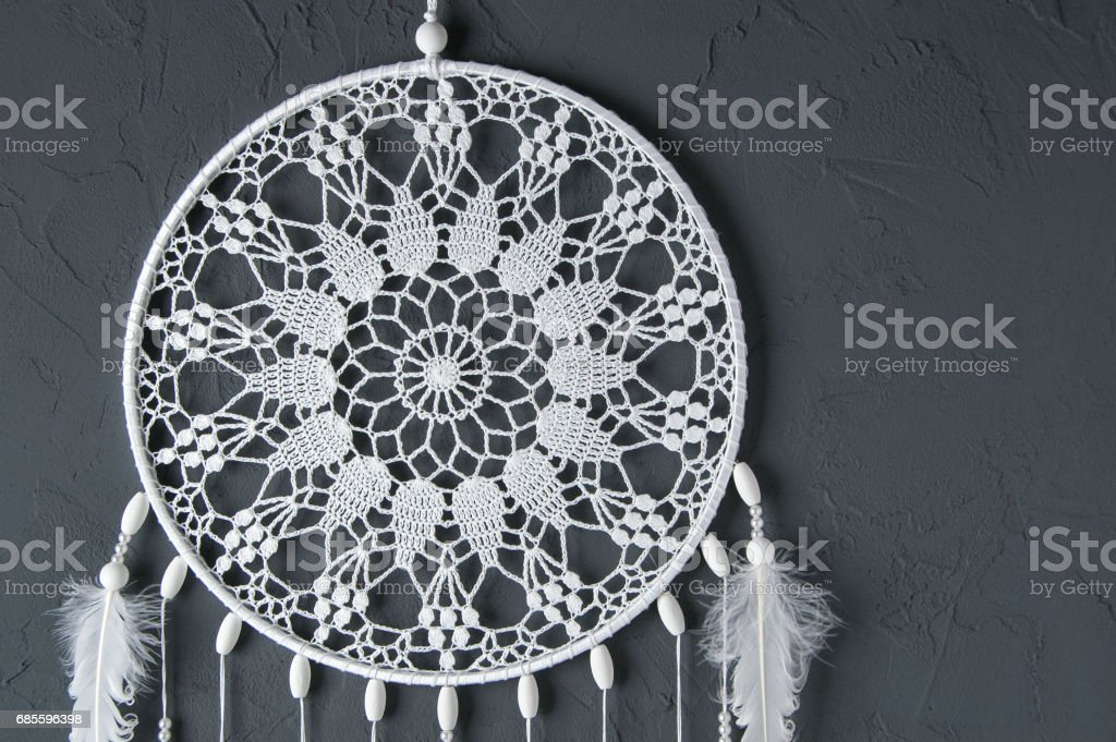 White crochet doily dream catcher 免版稅 stock photo