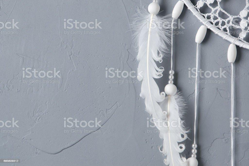 白色鉤針桌巾捕夢網 免版稅 stock photo