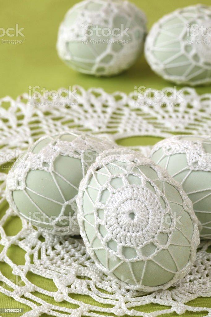 White crochet Easter eggs royalty-free stock photo