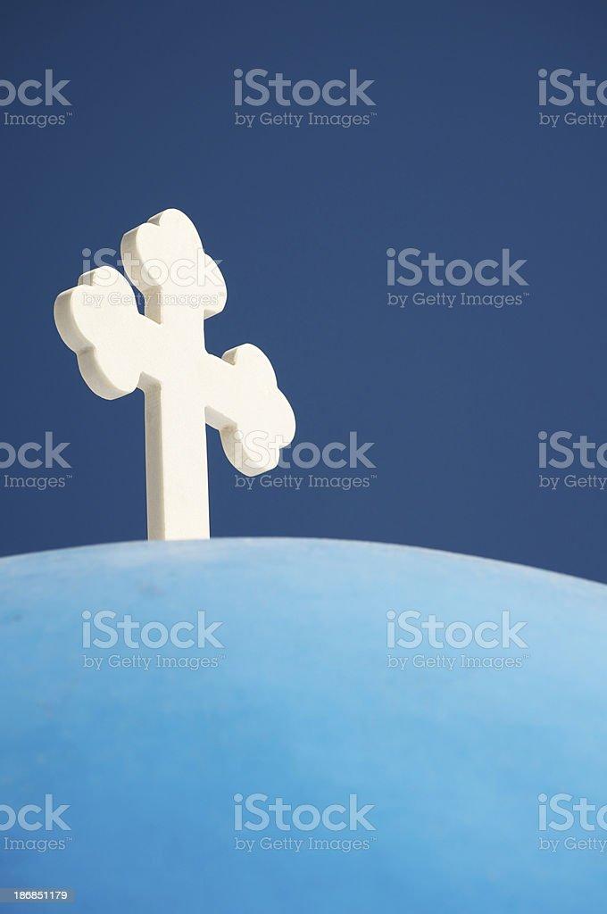 White Cross on Bright Blue Greek Dome stock photo