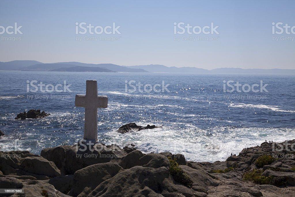 White cross on the coast royalty-free stock photo