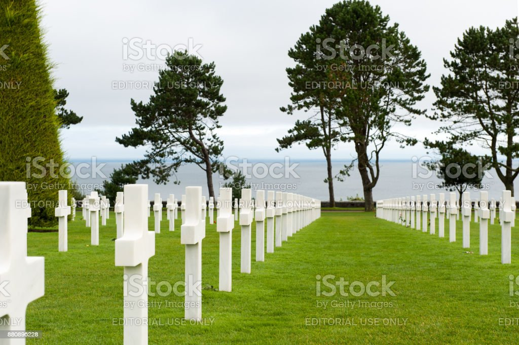 White crosses at Normandy American Cemetery. stock photo