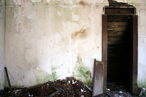 White crumbling water damaged plaster walls with doorway