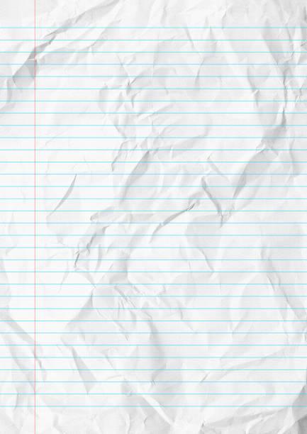 white crumpled lines paper school background. - folha de caderno imagens e fotografias de stock