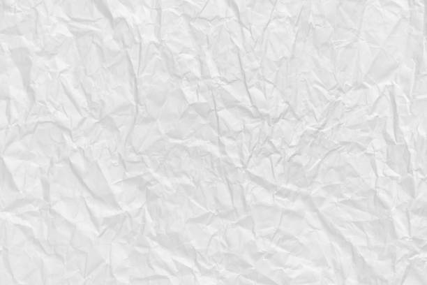 White crumpled paper background and texture stock photo