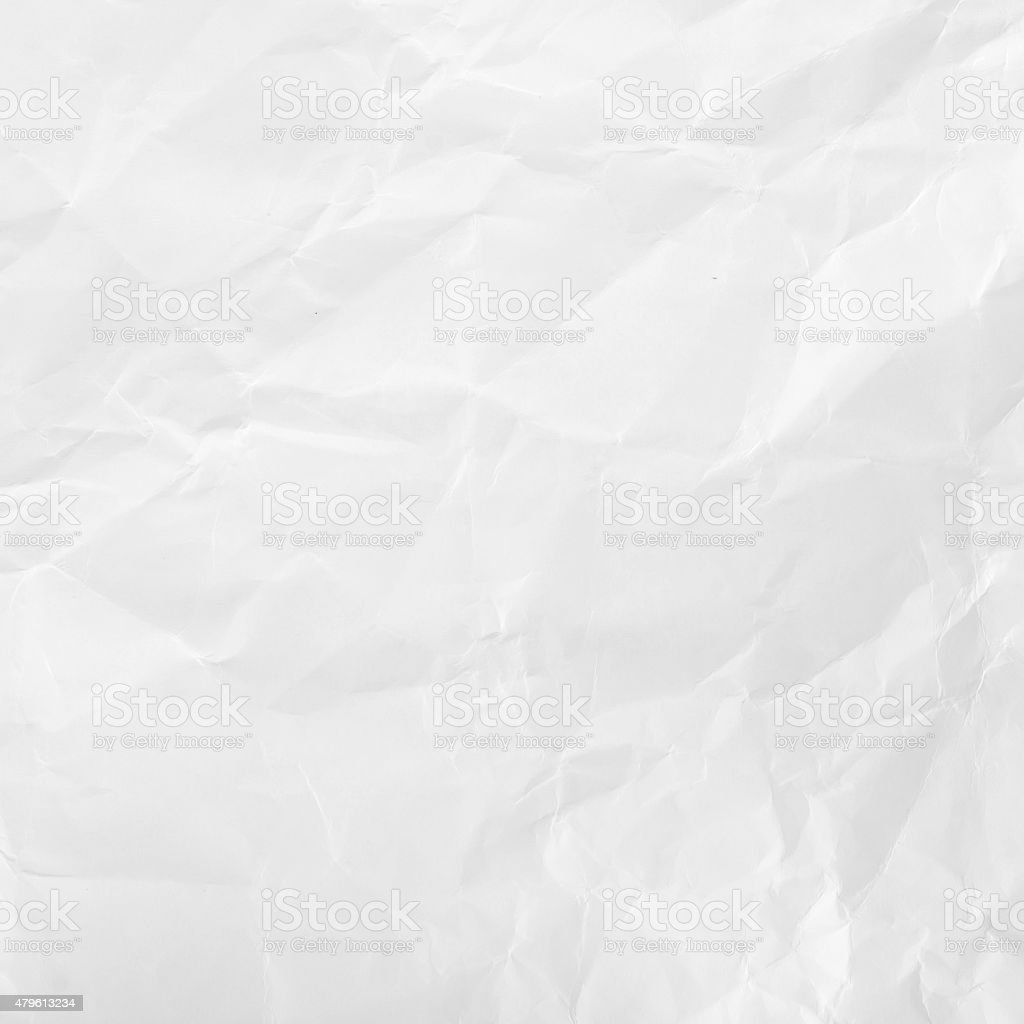 White crumpled paper for texture or background. stock photo