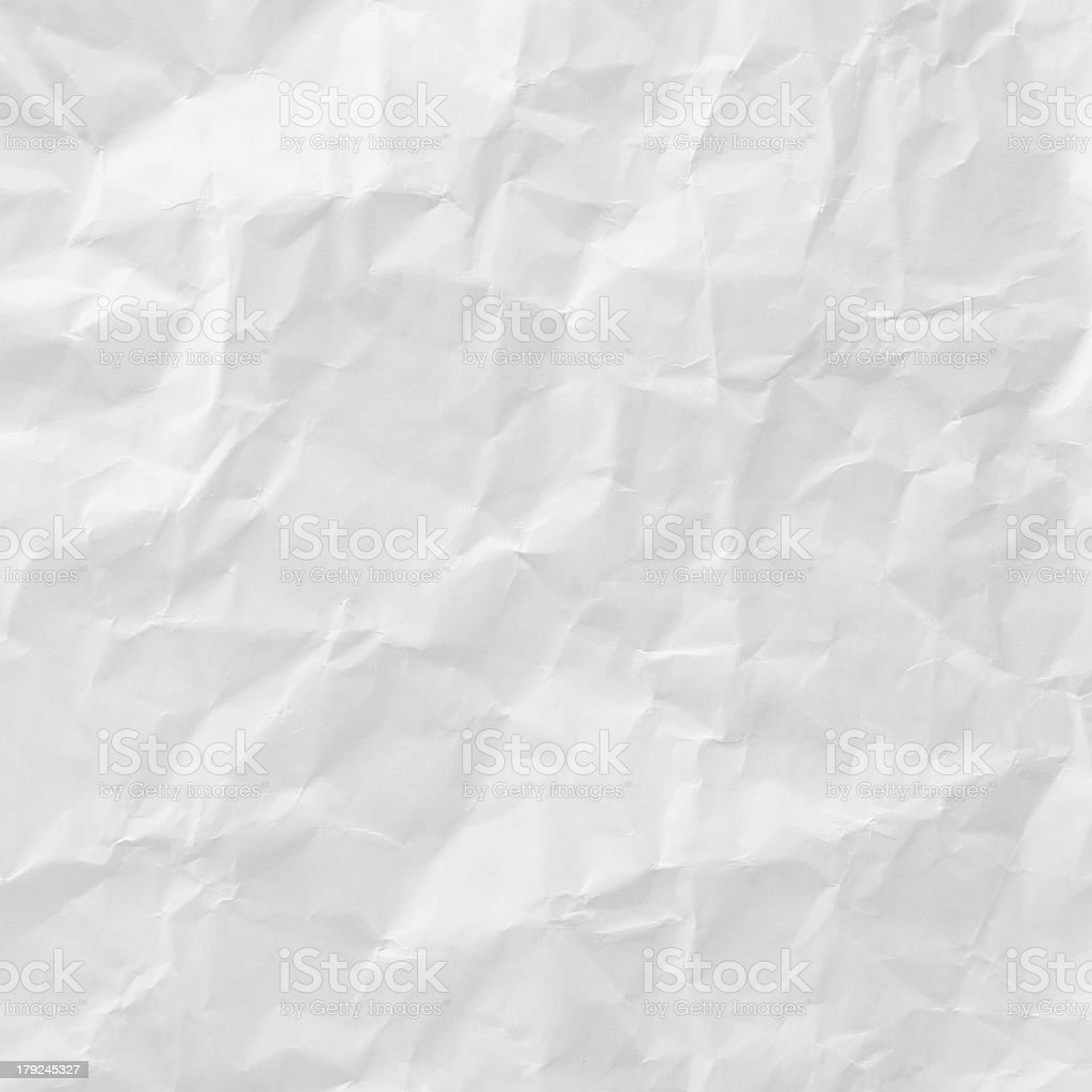 White crumpled piece of paper texture stock photo