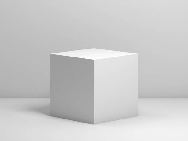 un cube blanc. illustration de rendu 3d - cube photos et images de collection
