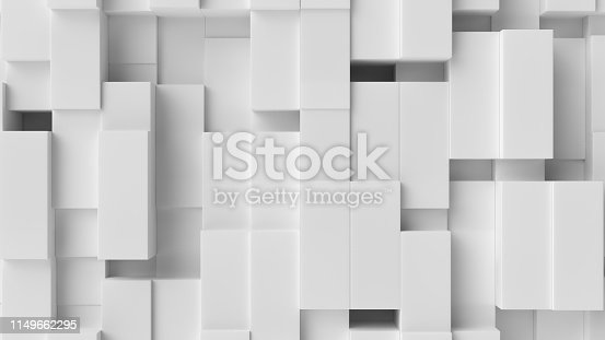 517581264istockphoto White cube abstract background. Abstract white blocks. 3d illustration, 3d rendering. 1149662295