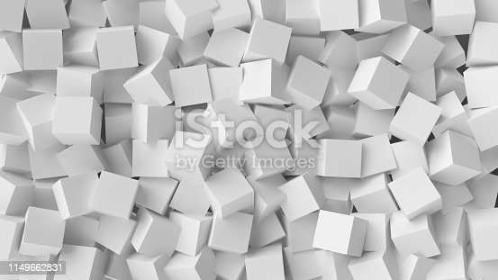 517581264istockphoto White cube abstract background. Abstract white blocks. 3d illustration, 3d rendering. 1149662831