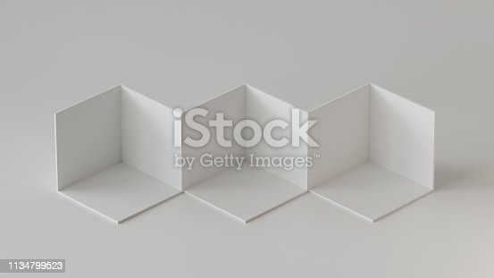 697820188 istock photo White cube boxes backdrop display on white background. 3D rendering. 1134799523