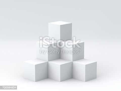 697820188 istock photo White cube boxes on white background for display. 3D rendering. 700584634