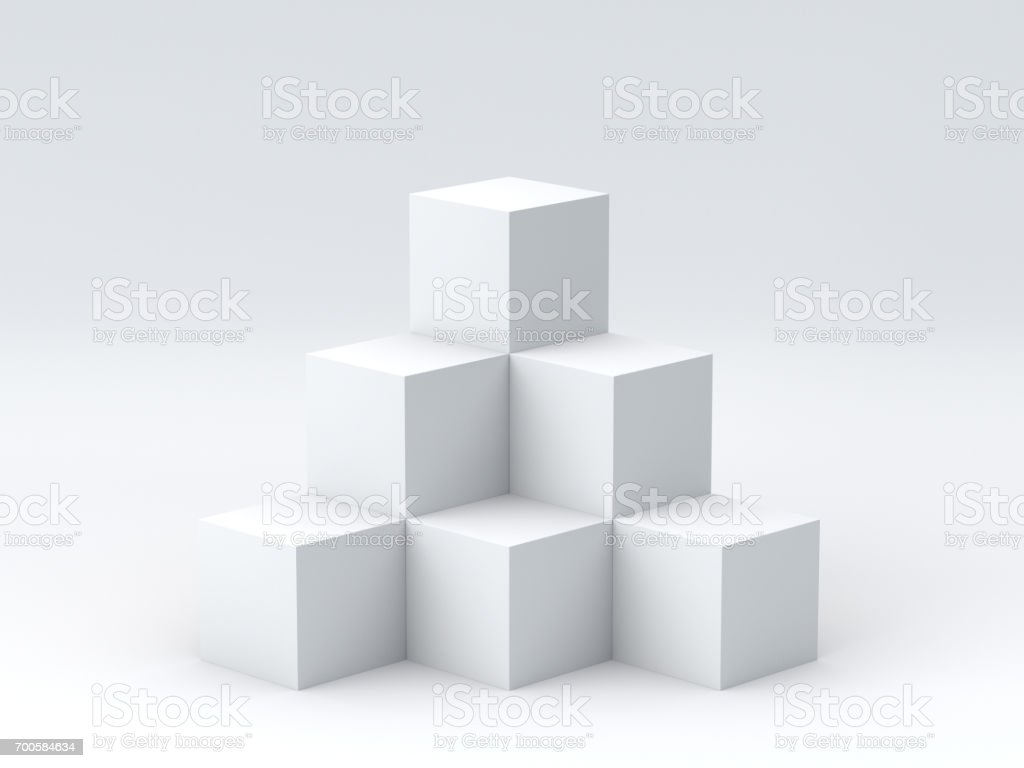 White cube boxes on white background for display. 3D rendering. stock photo