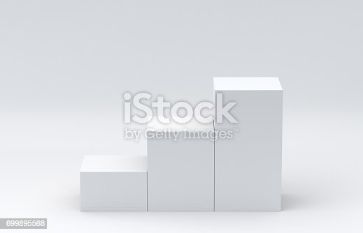 697820188 istock photo White cube boxes step on white background for display. 3D rendering. 699895568