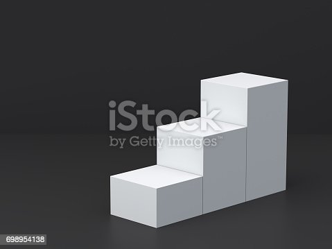 697820188 istock photo White cube boxes step with dark blank wall background for display. 3D rendering. 698954138
