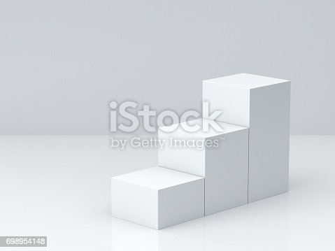 697820188 istock photo White cube boxes step with white blank wall background for display. 3D rendering. 698954148