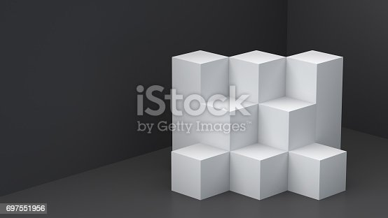 697820188 istock photo White cube boxes with dark blank wall background for display. 3D rendering. 697551956