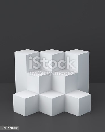 697820188 istock photo White cube boxes with dark blank wall background for display. 3D rendering. 697570018