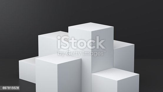 697820188 istock photo White cube boxes with dark blank wall background for display. 3D rendering. 697815528