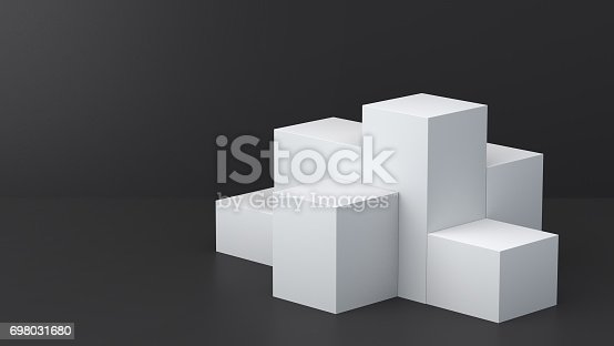 697820188 istock photo White cube boxes with dark blank wall background for display. 3D rendering. 698031680