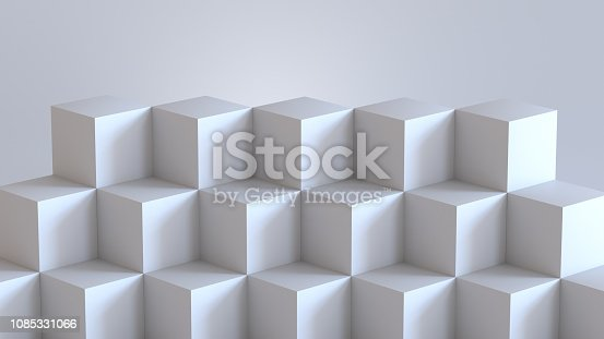 697820188 istock photo White cube boxes with white blank wall background. 3D rendering. 1085331066