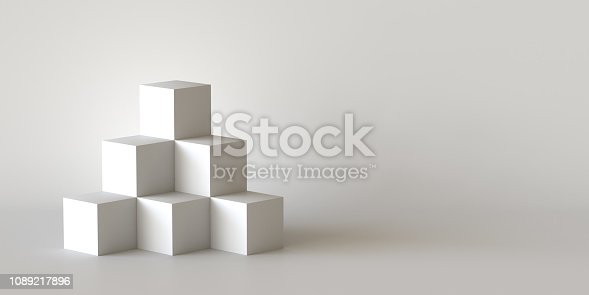 697820188 istock photo White cube boxes with white blank wall background. 3D rendering. 1089217896