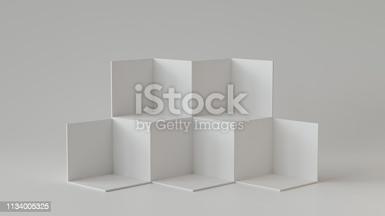 697820188 istock photo White cube boxes with white blank wall background. 3D rendering. 1134005325