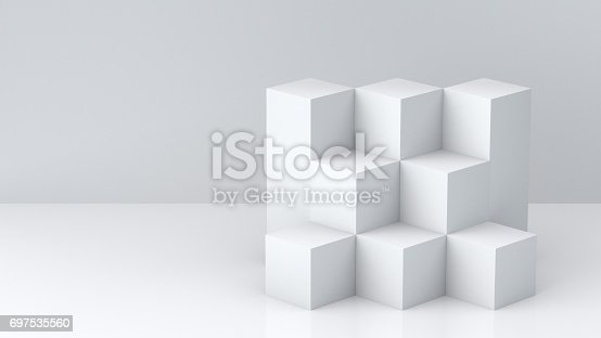 697820188 istock photo White cube boxes with white blank wall background for display. 3D rendering. 697535560