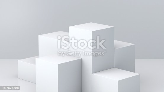 697820188 istock photo White cube boxes with white blank wall background for display. 3D rendering. 697674836