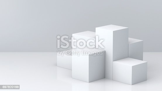 697820188 istock photo White cube boxes with white blank wall background for display. 3D rendering. 697820188