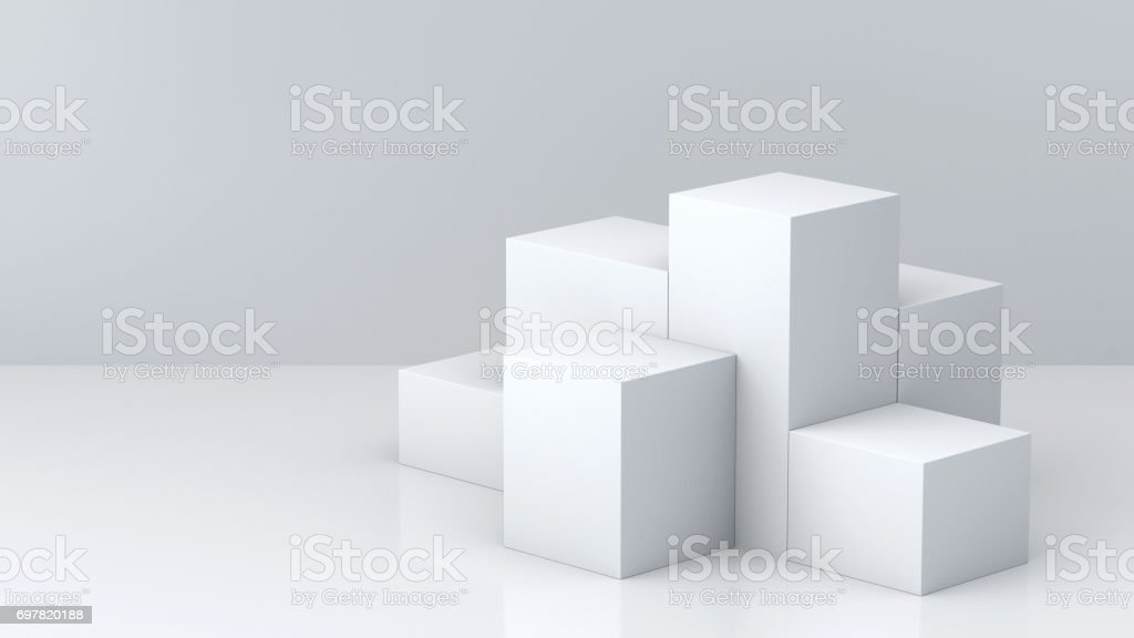 White cube boxes with white blank wall background for display. 3D rendering. stock photo