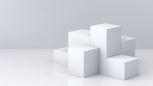 white cube boxes with white blank wall background for display. 3d rendering. - cube shape stock pictures, royalty-free photos & images