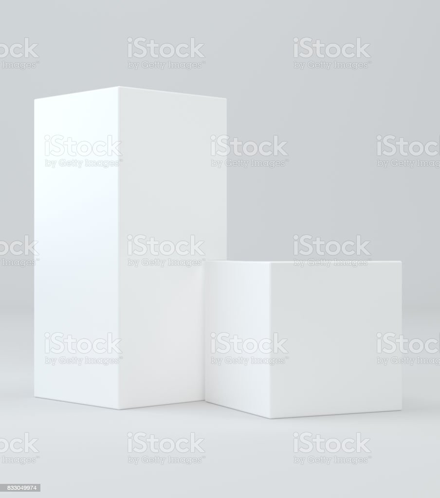 White cube in light studio. stock photo