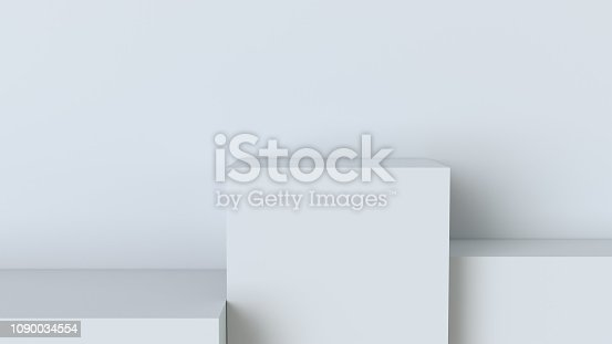 697820188 istock photo White cube podium on blank wall background. 3D rendering. 1090034554